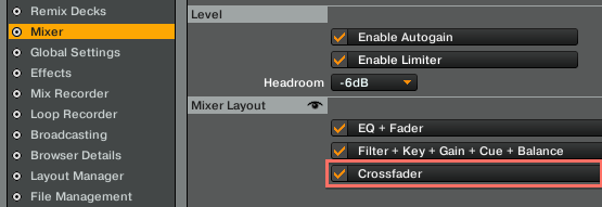 The Crossfader Is Not Visible / Does Not Work in TRAKTOR