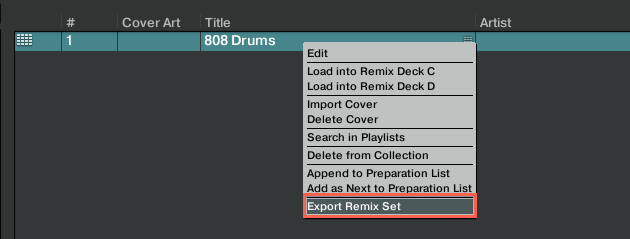 Export Remix Set