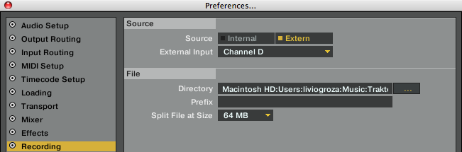 recording preferences ext CH D