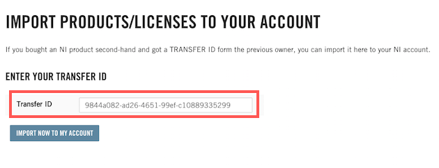 How to Import a License Transfer ID to your NI Account – Native