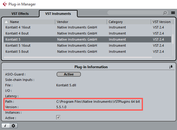 Plug-in Administration in Cubase 8 – Native Instruments