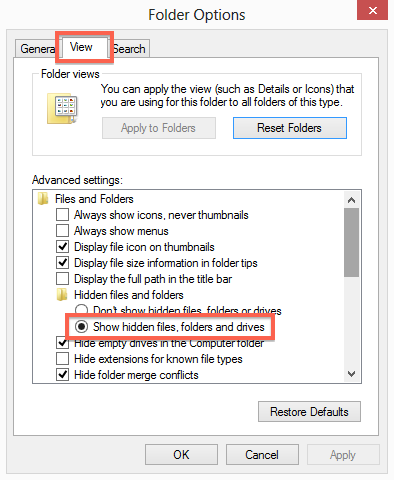 Displaying Hidden Files and Folders (Windows) – Native