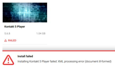 kontakt 5 update failed
