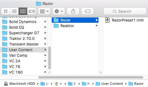 reaktor user library folder