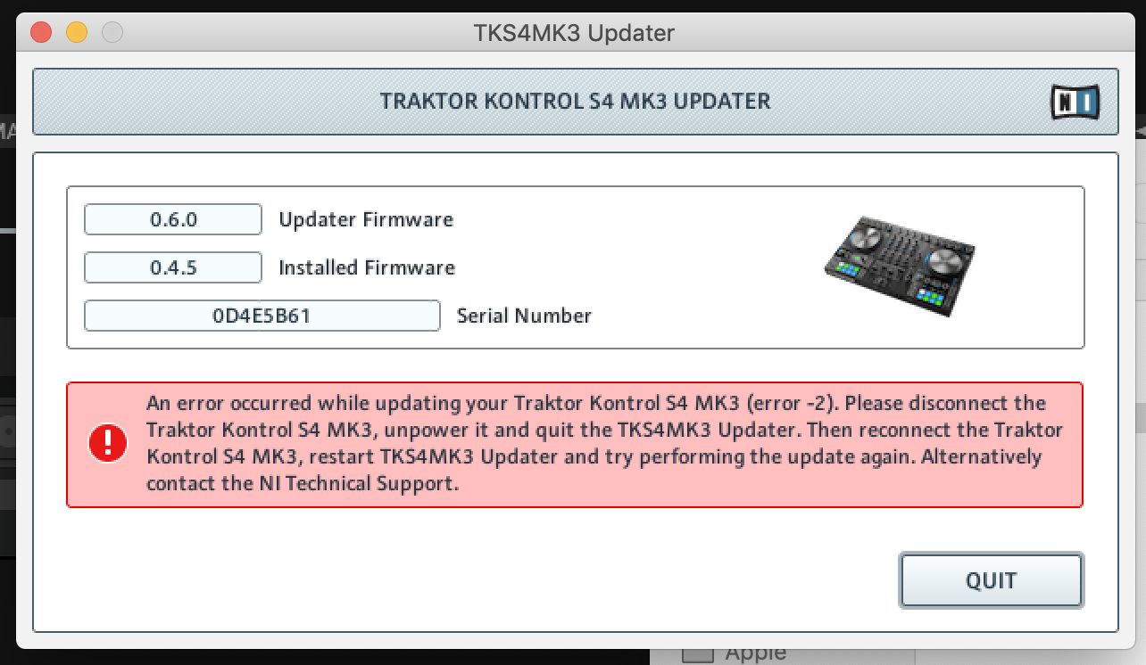 Updated Traktor 3 1 to 3 2 and now Firmware won't update
